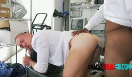 Russian model gets on his knees to suck and get drilled by big black cock