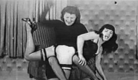 Vintage black and white porn featuring Betty Page